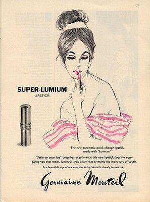 1961 Germaine Monteil Lipstick Merimo ART PRINT AD