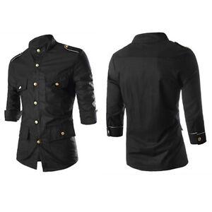 Men-039-s-Slim-Fit-Long-Sleeve-Casual-Denim-Dress-Shirt-Formal-T-Shirts-Tee-Tops-Hot