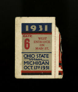 Details About 1931 Ohio State Buckeyes Michigan Wolverines Football Game Ticket Stub 10 17 31