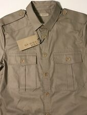 NWT BURBERRY BRIT Men's MADWELL TAUPE S/S MILITARY TWILL SPORT SHIRT Size SMALL