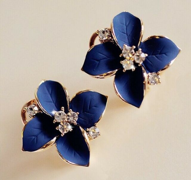HOT Women Blue Flower Charm Crystal Ear Stud Earrings Fashion Jewelry 1 pair