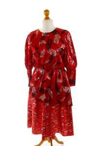 sale vintage 80s abendkleid rot satin glitzer partykleid kleid cocktailkleid m  ebay