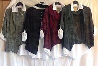 New Ladies Italian Lagenlook Button Back 3 Piece PAISLEY Cotton Shirt Tunic Top