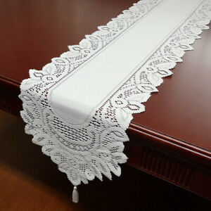 Vintage-Hand-Knitted-Floral-Lace-Table-Runner-Tasseled-Edge-Wedding-Party-Decor