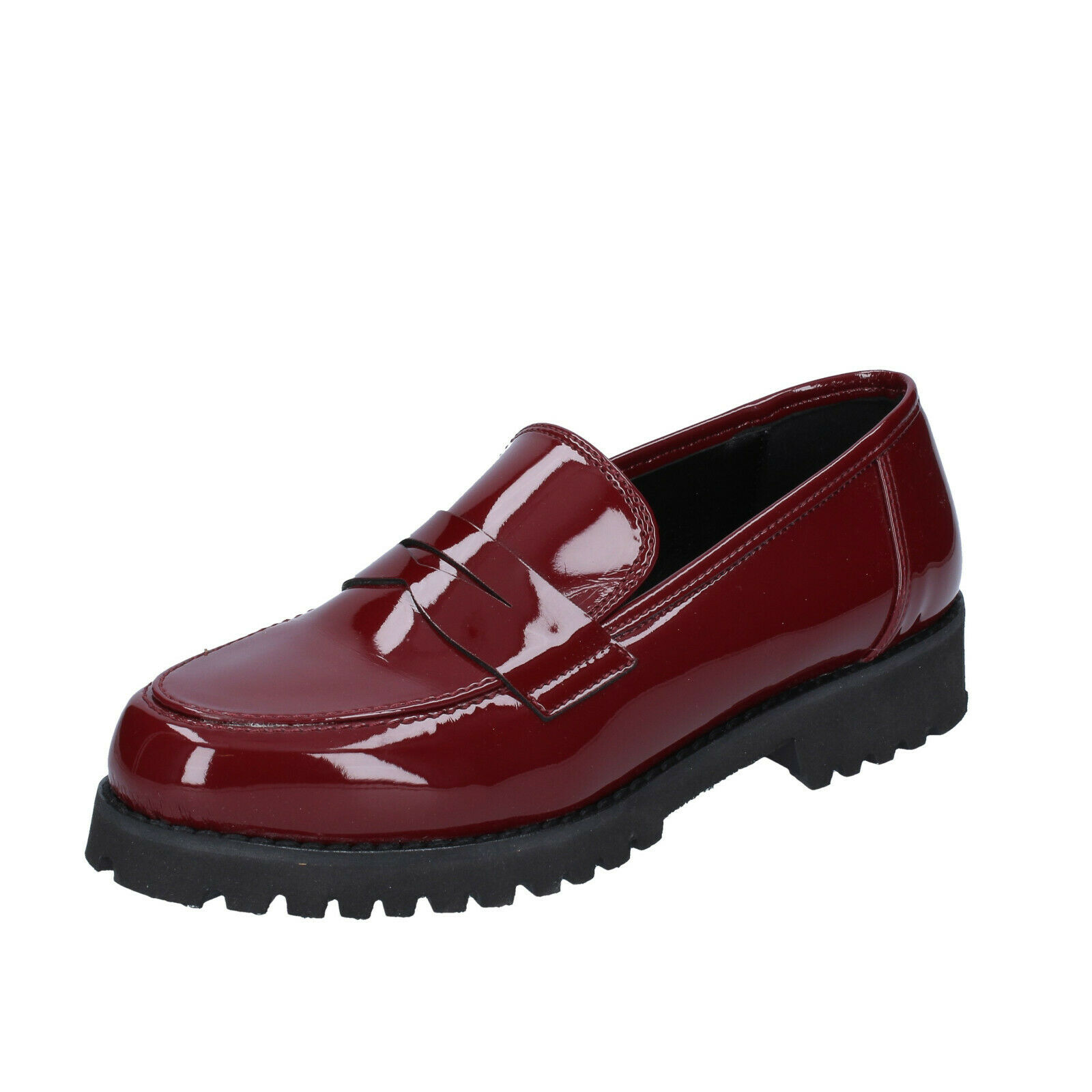 Womens shoes Olga Rubini 36 EU Moccasins Burgundy Lacquer BS840-36