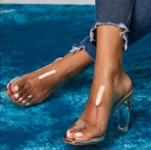 Womens-Transparent-High-Block-Heels-Slippers-Sandals-Party-Sexy-Open-Toe-Shoes