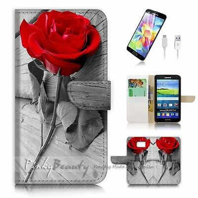 ( For Samsung S6 Edge ) Wallet Case Cover! P0086 Rose
