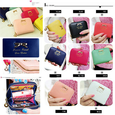 Hot Women Fashion Mini Faux Leather Purse Zip Around Wallet Card Holders Handbag