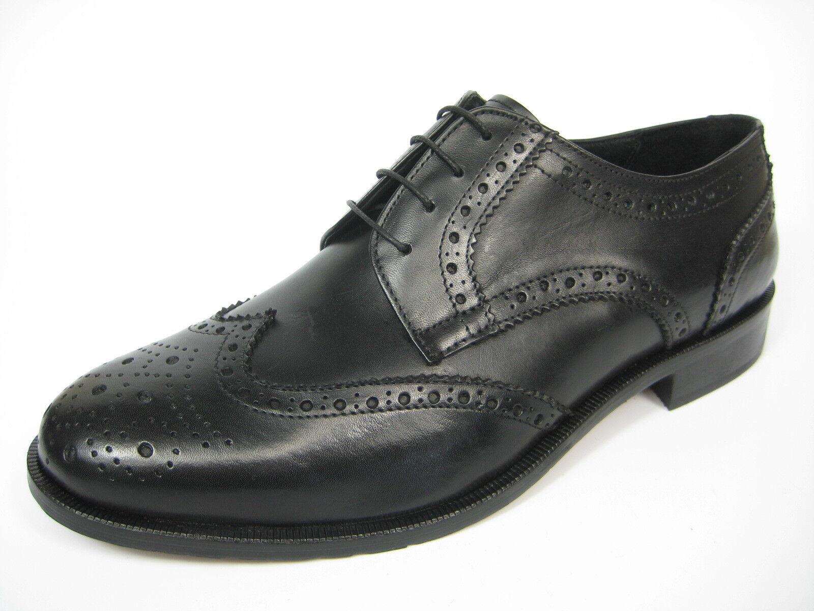 GIORGIO SCARPE 1395 Derby Budapester Leder Schuh Ledersohle schwarz/dunkel braun