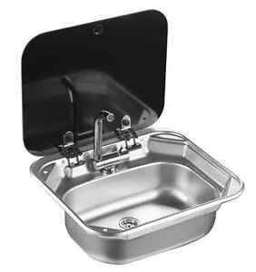 Rv caravan camper stainless steel hand wash basin kitchen sink with lid gr 586 - Caravan kitchen sink ...
