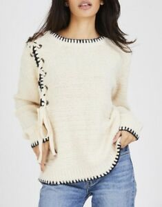New-Women-Ladies-Beige-Winter-Shoelace-Knot-Detailed-Knitted-Jumper-Knitwear