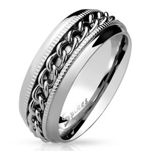 Coolbodyart-Men-039-s-Ring-Band-Ring-in-Silver-with-Framed-Chain-and-Diamantschn