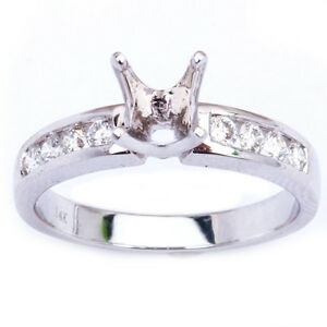 .30CT Channel Set Round Diamond Semi Mount Solitaire Engagement Ring