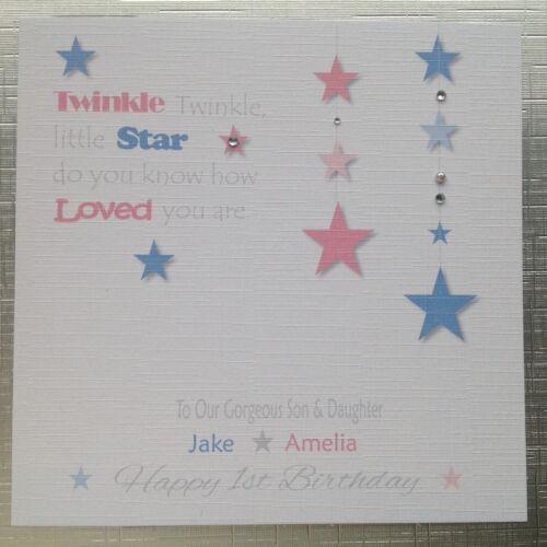 Personalised Handmade CARTE D/'ANNIVERSAIRE jumeaux 1st 2nd 3rd Twinkle Twinkle Star