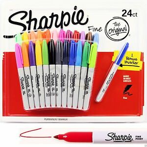 24-1-SHARPIE-Markers-Coloured-Permanent-Sharpies-Marker-Pen-Bulk-Fine-Point