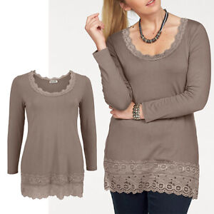 hübsches Longshirt Shirt Gr.48 Bluse TOP Tunika Beige Camel Spitze Oberteil