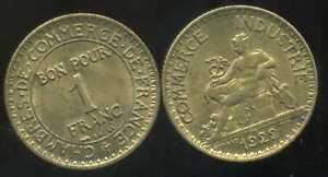 FRANCE-FRANCIA-1-franc-CHAMBRE-DE-COMMERCE-1922-TTB