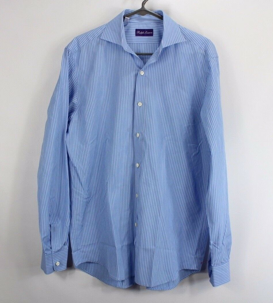 Ralph Lauren Purple Label Mens Medium Button Up Casual Dress Shirt bluee