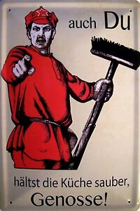 Kitchen Sauber Hold Comrade Tin Sign Shield Arched Metal 20 X 30 CM
