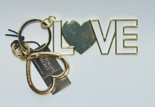 NEW VICTORIA/'S SECRET XO LOVE HEART GOLD CHARM KEYCHAIN CLIP ON PURSE BAG METAL