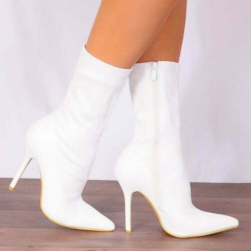 Stilettos 3 6 White Ankle Sock 5 Stretch Pointed 7 Shoes Size High Heels Boots 4 dvOOxSwq