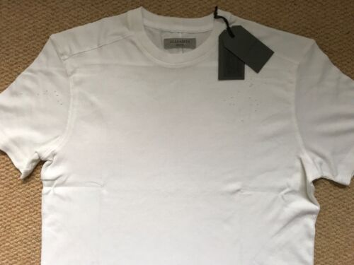 "M /& L  NEW TAGS ALL SAINTS CHALK WHITE /""BRYAN/"" S//S DISTRESSED CREW T-SHIRT TOP"