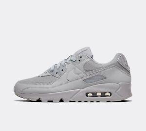 Nike-AIR-MAX-90-034-TRIPLO-GREY-034-LUPO-Grigio-Men-039-s-Leather-Scarpe-da-ginnastica-Tutte-Le