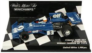 Minichamps-Tyrrell-Ford-007-Winner-Swedish-Gp-1974-Jody-Scheckter-1-43-Escala