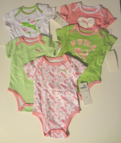 Infant Girls PUMA One Piece Bodysuits TShirt Set of 5 Sizes  3-6M 6-9M NWT