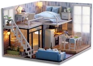 Cutebee casa de muñecas en miniatura con kit de bricolaje de madera casa de muñecas muebles además de polvo