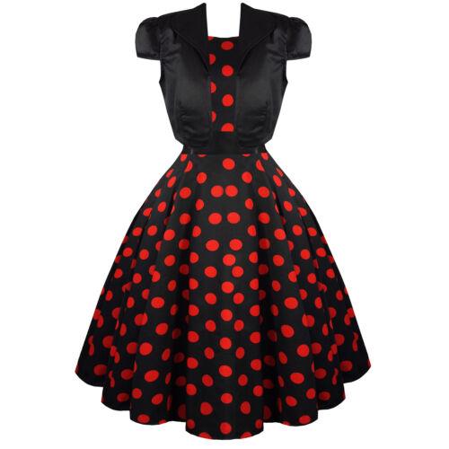 Hearts /& Roses London Black Red Polka Dot 1950s Dress with Bolero Shrug UK