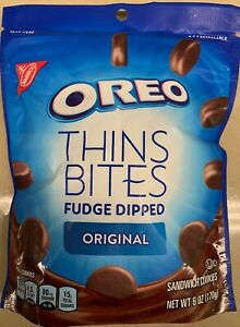 NEW-NABISCO-OREO-THINS-BITES-FUDGE-DIPPED-ORIGINAL-CREME-SANDWICH-COOKIES-6-OZ