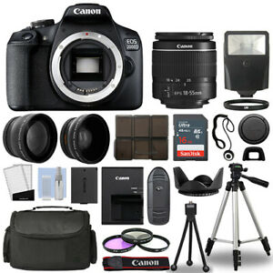 Canon-EOS-2000D-Rebel-T7-SLR-Camera-3-Lens-Kit-18-55mm-16GB-Flash-amp-More
