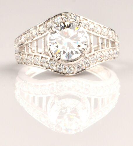 Rund Form 3,80Kt Solitär mit Akzentsetzung Hochzeit Ring Im 925 Sterling Silber