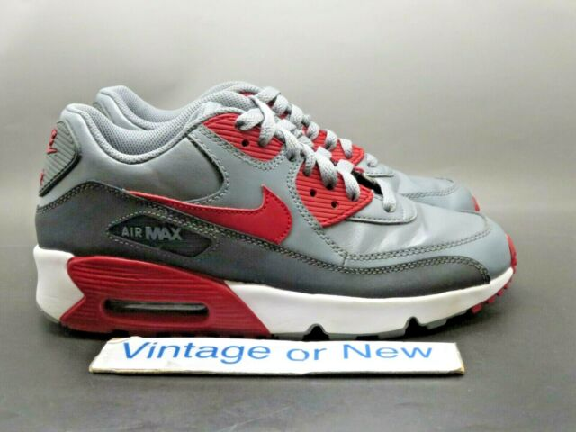 Nike Air Max 90 Gym Red Leather Cool Grey Kids Gs Pick Your Size