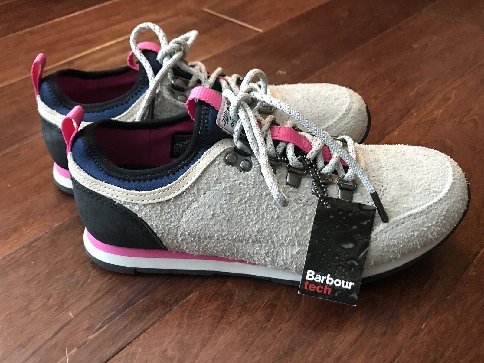 Barbour 12000 Highlands Low Gray Pink Athletic Sneaker Women's US 8 NEW