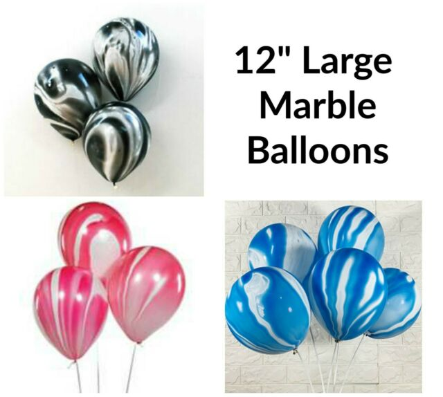 """12/""""  Large Pink Blue Black Marble Agate Balloons for Birthday Wedding Party deco"""