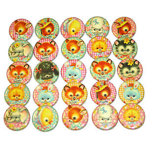 CUTE-BABY-ANIMALS-BADGES-x-25-Button-Pins-Bulk-Wholesale-Lot-Kawaii-32mm-1-25-034