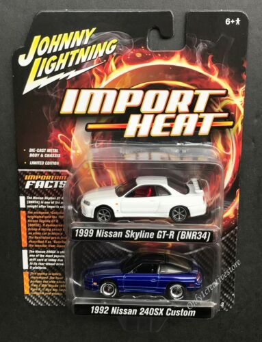 JOHNNY LIGHTNING 1999 Nissan Skyline GT-R R34 & 1992 Nissan 240SX Custom 1:64