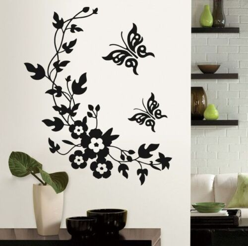 Beautiful Black Flower Vine /& Butterfly Wall Sticker for Home Decoration Decal
