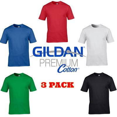 Mens T-Shirts, 3 Pack Plain Blank Gildan 100% Premium Cotton T-shirt New  Tshirt   eBay