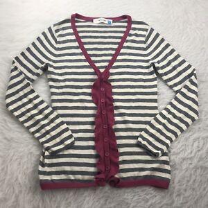 ANTHROPOLOGIE-Sparrow-Women-039-s-Size-Medium-Cardigan-Sweater-Gray-White-Striped
