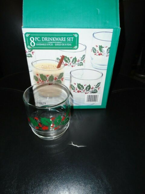 UIB INDIANA GLASS SET OF 8 ROCK GLASSES HOLLY DESIGN 10 OUNCE