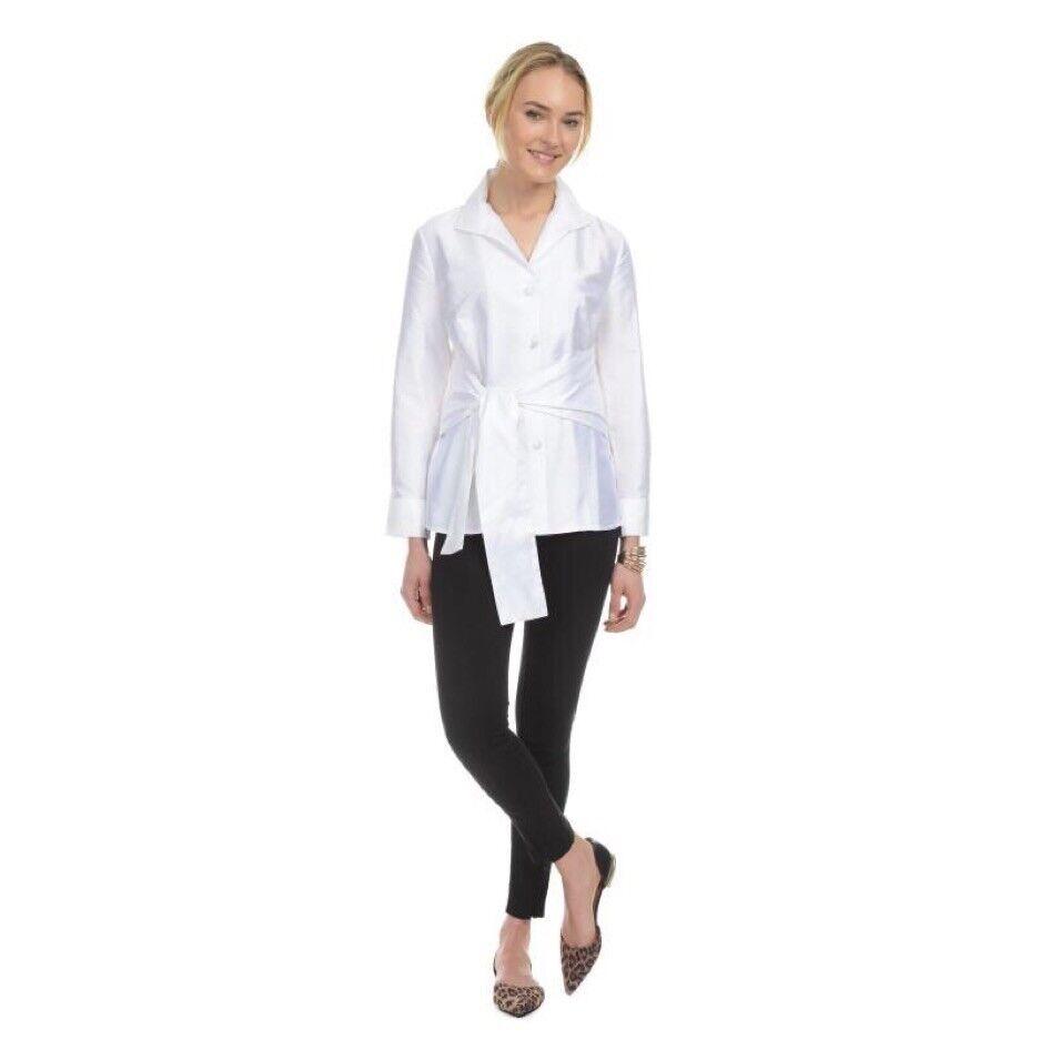 Patty Kim  Sash tie wing collar 100% Silk Ivory Button Down Blouse Sz Large