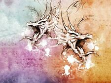 PAINTING DRAWING TATTOO SKETCH DRAGON HEAD COLOURS ART PRINT POSTER MP3857A
