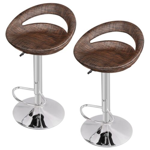 Set of 2 Adjustable Height Home Pub ABS Rattan Swivel  Wicker Bar Stool  Modern