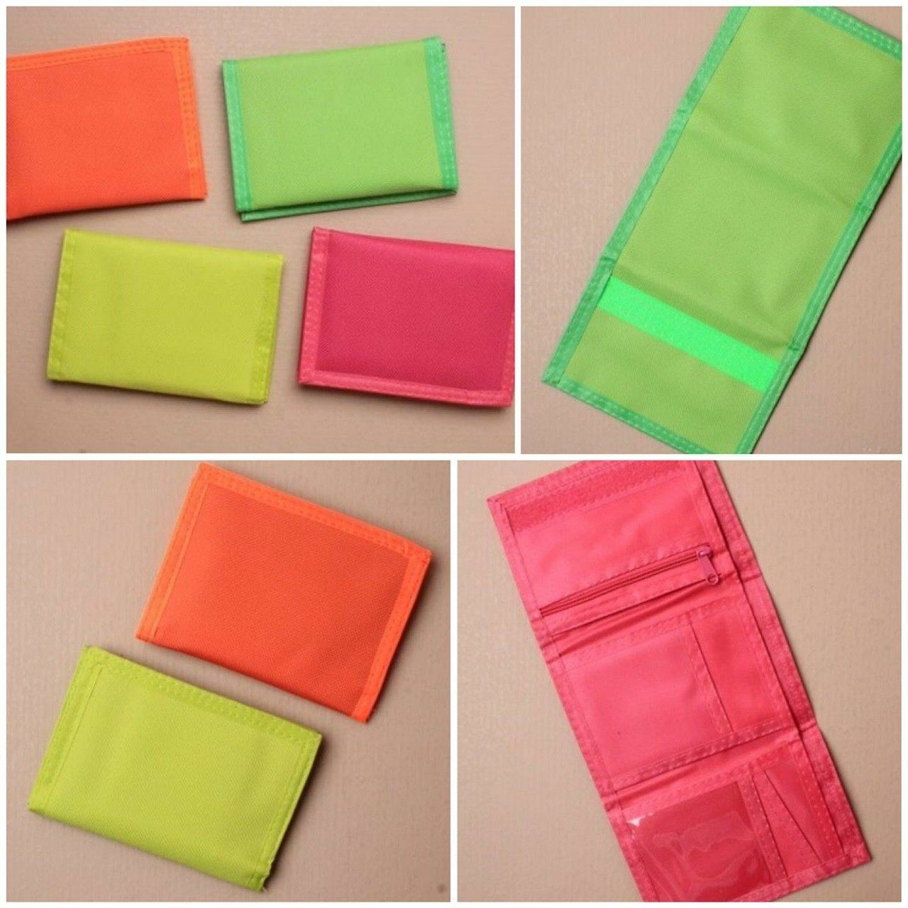 NEW Neon material womens/mens vel cro wallet 12x9cm Cash accessories coin card,
