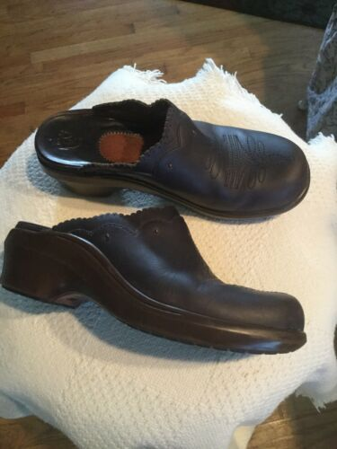 Ariat Women Cowboy Western Brown Leather Clogs Mul