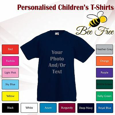 New Name Personalised Boys Girls Childrens Printed Cotton Short Sleeve T-Shirt