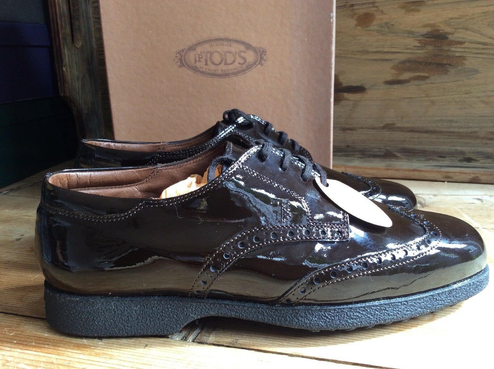 NEW IN BOX Dark Brown Classic Brogues By Tod's Tod's Tod's Size 6.5Uk 39.5EU 5896f7